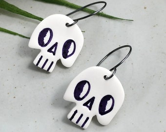 Earrings made with White Polymer Clay Skulls on Oxidized, Sterling Silver Earring Wires PCE-264