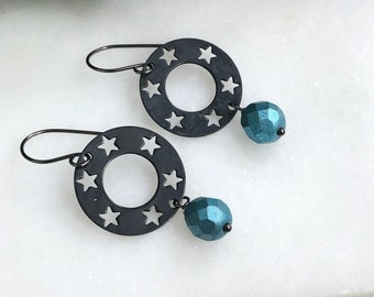 Earrings Made with Oxidized, Sterling Silver Wire, Oxidzied Brass Star Circles and Blue Czech Glass SBRE-15