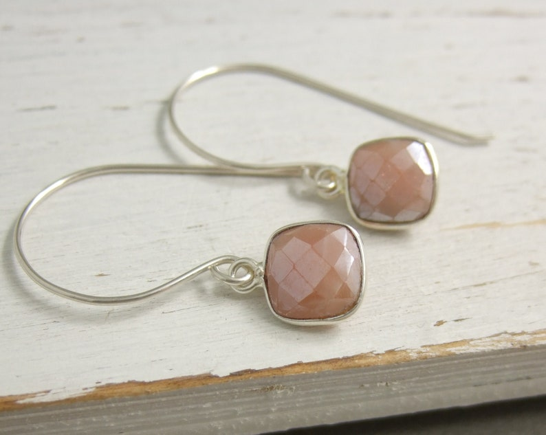 Earrings with Sterling Silver Bezel Set Square Peach Moonstones on Sterling Silver Earring Wires HE-489