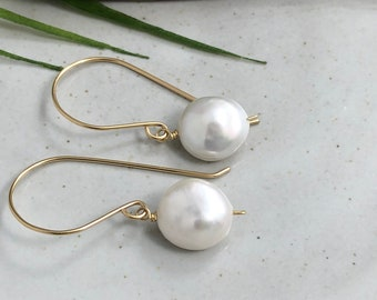 Earrings with Large, Round, Flat Pearls Wire Wrapped with 14k Gold-Filled Wire GHE-123