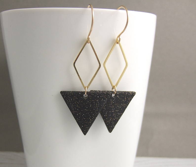 Black Polymer Clay and Brass Diamonds on 14k Gold Filled Earring Wires PCE-84 Earrings made with Triangles of Sparkly