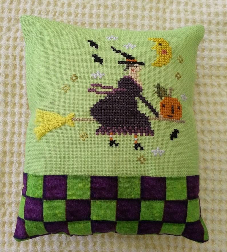 Cross Stitch Witch Flying On Broom ~ Halloween Cross Stitch ~ Finished Cross Stitch ~ Halloween Pillow ~ Folk Art Halloween