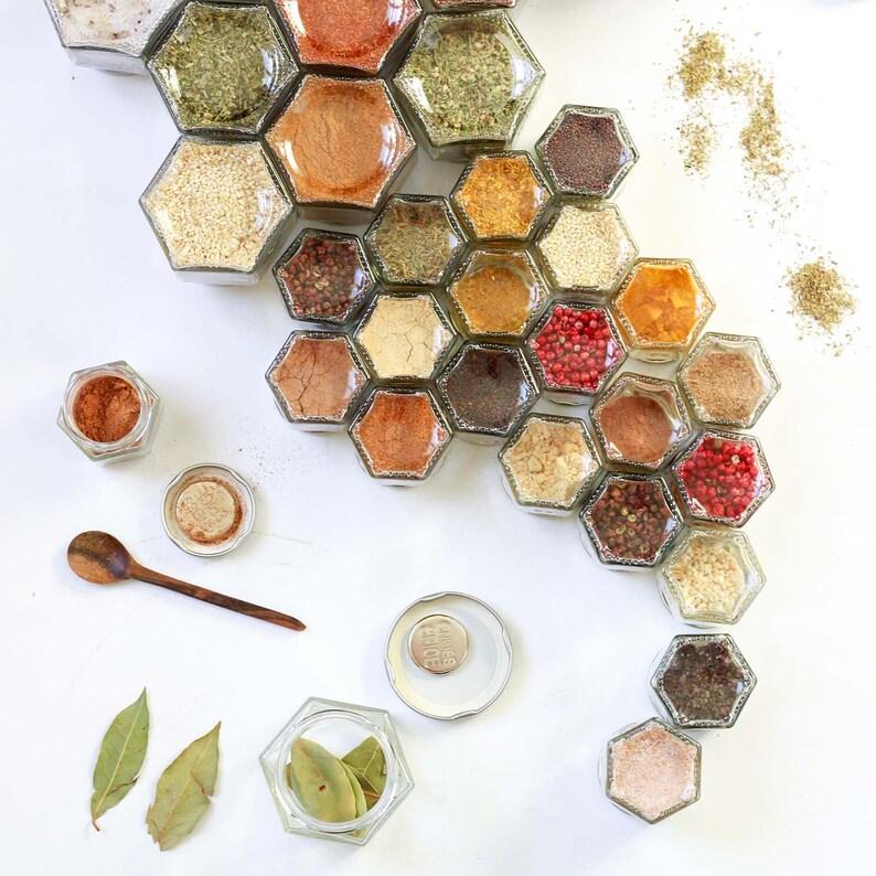 Diy Magnetic Spice Kit 10 Small Empty Hexagon Glass Jars Etsy