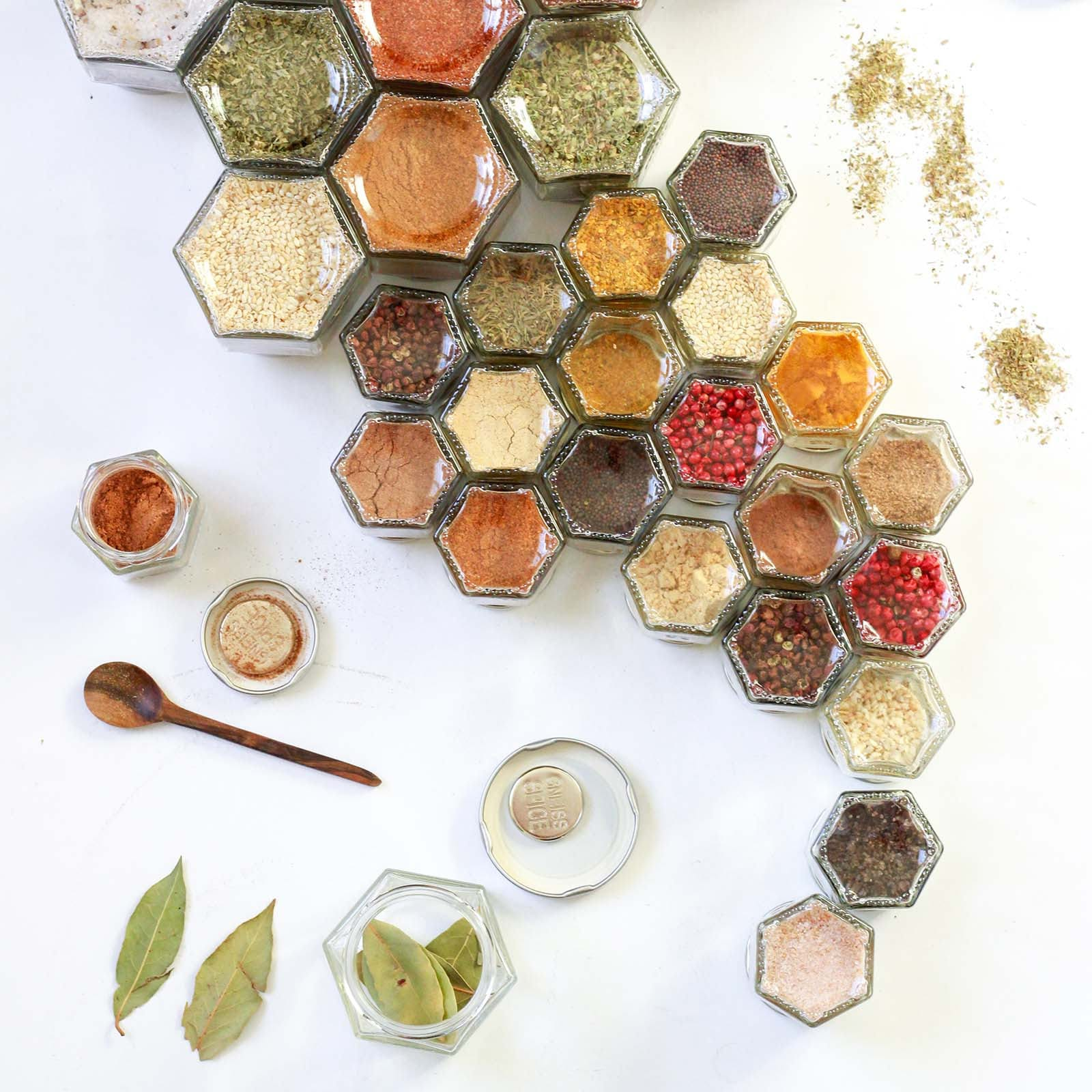 12 DIY Large Empty Magnetic Glass Jars + Spice Labels | Hanging Spice Rack for Your Fridge | Kitchen Storage and Organization | Gneiss Spice