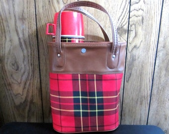 Vintage Red Plaid Thermos Carrier