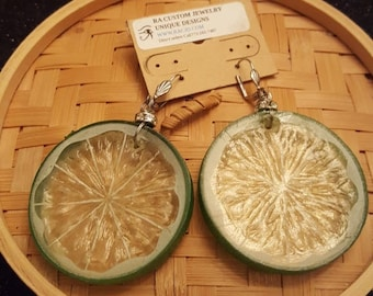 Margarita Lime Slices Earrings. Made with Tiny Rhinestones circle disk