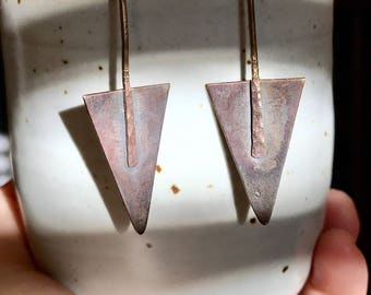 Hand forged bronze paddle earrings. Small triangle