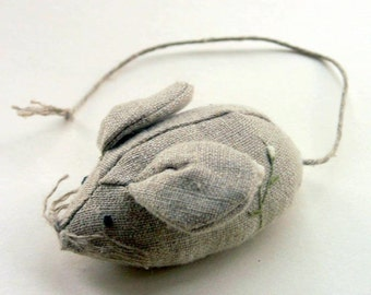 Embroidered linen pincushion - little linen mouse