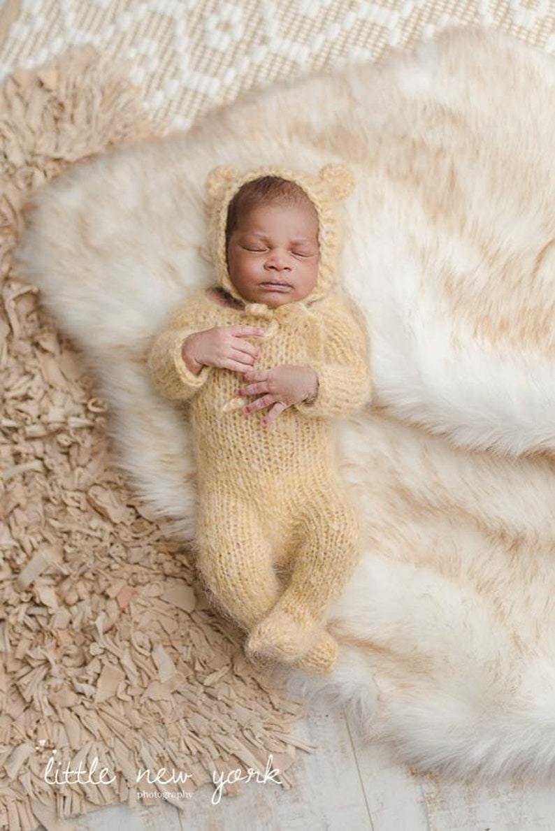 cfe756863bb Pajamas Hand Knitted Newborn Bear PJs Mohair Elf Sleeper Hat