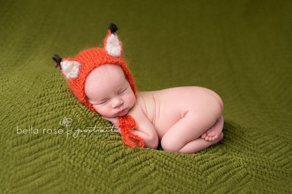 Fox Newborn Photo Prop Baby Bonnet Infant Hand Knit Costume  ccfa90e99fb2