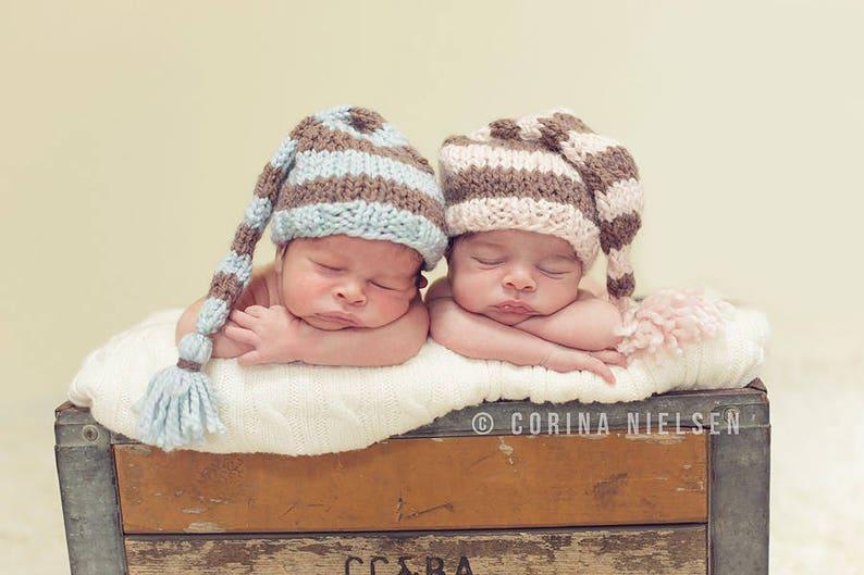 37fe744d0fb Striped Elf Hat Baby Boy Photo Prop Hand Knit Newborn Tailed