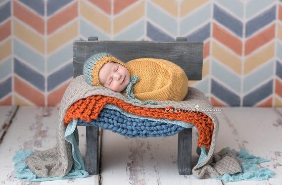 a66a47a1b65f Hand Spun Knit Bonnet Photo Prop Newborn Knitted Hat Gold Baby