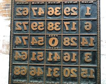 Vintage Bingo Printing Press Copper Plate