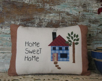 Country Primitive Decorative Pillow, Home Sweet Home, Country Decor