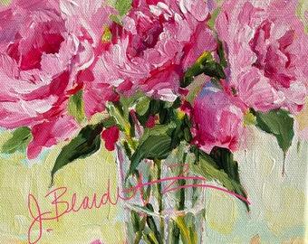 Original Painting of Pink Peonies Impressionist flowers wall art