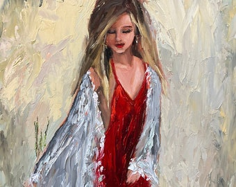 Original Oil Painting of Woman in Red Dress pallet knife art