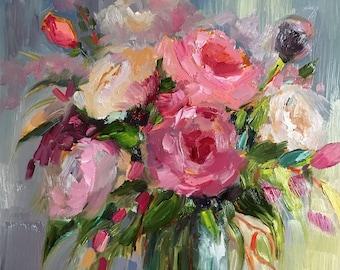 Print of oil painting impressionist floral, flowers, roses , pink peonies, palette knife,expressive ,still life, art, j beaudet