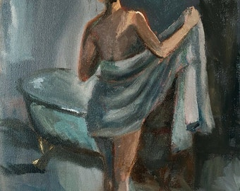Original Oil Painting, Impressionist painting, woman, figure art, romantic art, bather