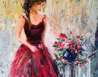 "Art print of Original Oil Painting Feminine Romantic Woman Figure Red Roses Impressionist 16""x20"" canvas print"