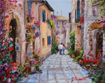 Original Oil Painting, Impressionist, knife painting, Italy, romantic art