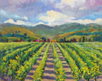 Fine Art Print of Original oil painting California Vineyard winery modern impressionism by J. Beaudet