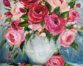 Print of Original oil painting Roses floral painting shabby chic decor impressionist square wall decor