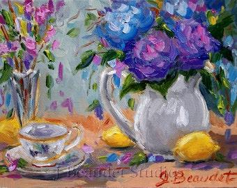 Print  of  Original Oil Painting Floral  Impressionist Lemons and Purple Hydrangea