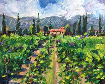 Original Oil Painting,vineyard,green landscape, winery, oil painting, palette knife, colorful, square