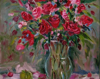 Fine Art Print oil painting Red Roses with Cherries Modern Impressionism