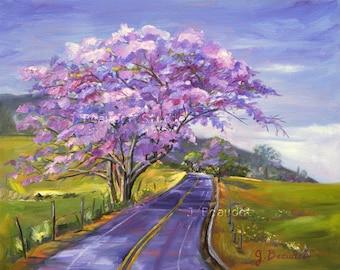 Giclee Print of Original Oil Painting Landscape Trees Tropical Maui Purple Impressionist Fine Art 16x20
