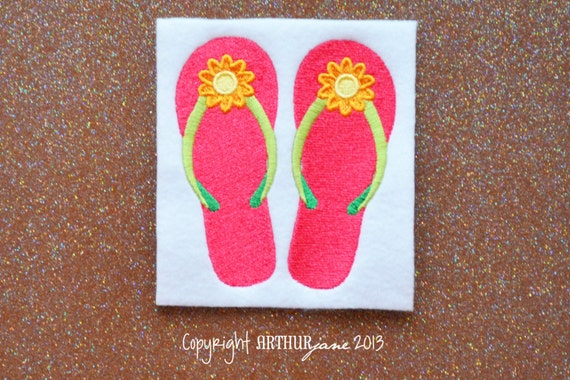 61437a938 Girly flip flops instant digital download embroidery design for machine  embroidery jpg 570x380 Girly flip flops