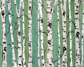 Birch Trees on Blue Green with Real Texture Commission by Kristen Dougherty