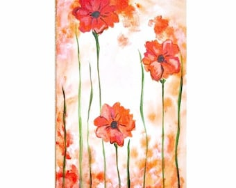 Three Orange Poppies Commission by Kristen Dougherty