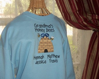 Personalized Grandma's Honey Bees  Embroidered Sweatshirt