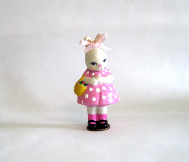 ooak rabbit penny doll Easter basket collectible gift for her penny bun in pink dot dress collectible penny bunny dollladydianas dolls