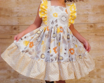 Girls Flutter Sleeve Dress in Yellow and Beige - Girls Fall Dress - Twirl Dress - Party - Birthday - Special Occasion - School - Church