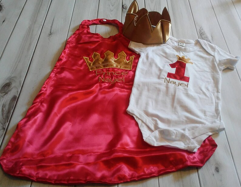 6539615058bf7 3 piece RED 1st birthday Prince or King gold crown onesie cape | Etsy