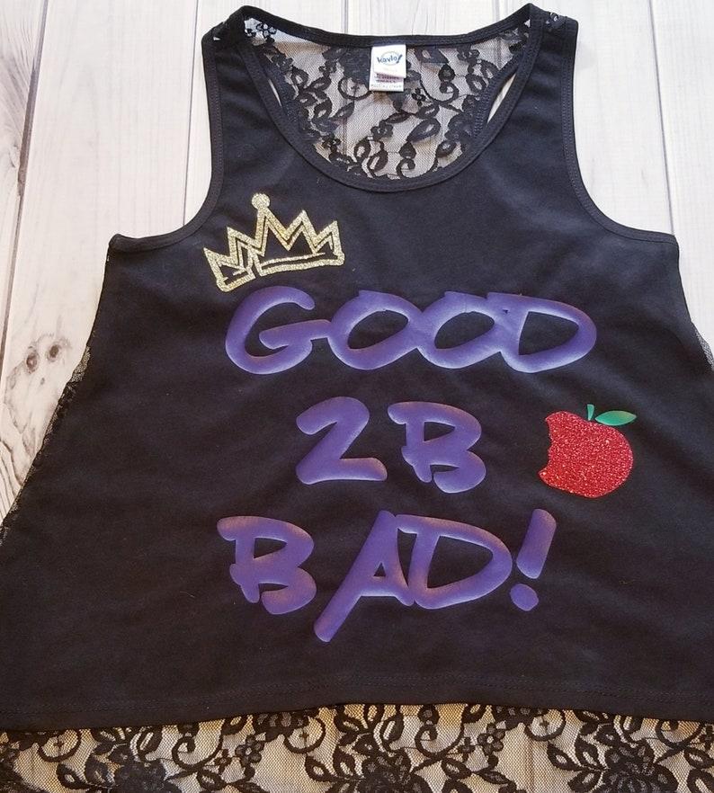 GIRLS Descendants Glitter Sparkle Good 2B Bad Crown Apple Birthday Black Lace Hi Low Tank Top small 78