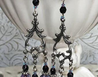 Vintage Burgundy Plum Berry Chandelier Earrings Green Orange Chandelier Earrings Antiqued Copper Silver Victorian Vintage Chandelier Earring