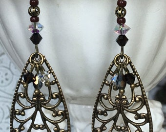 Fancy Brown Sophisticated Victorian Baroque Mocha Sparkling Crystals Antiqued Brass Vintage Dangle Beaded Filigreed Handmade Earrings