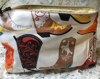 Custom Made Novelty (Cowboy Boots w white)   Make-Up Bag