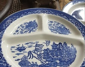 Grill Divided Plate Cobalt blue White Transferware Occupied Japan Blue Willow Pattern 11 quot diameter