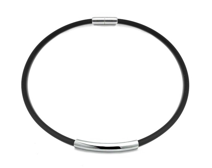 Men's Black Rubber Necklace with Stainless Steel Tube Element by Taormina Jewelry