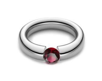 1.5ct Garnet Tension Set Tapered Engagement Ring in Stainless Steel