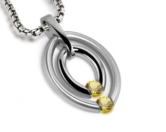 Two Yellow Sapphire Tension Set Double Gemstone Pendant in stainless steel by Taormina Jewelry