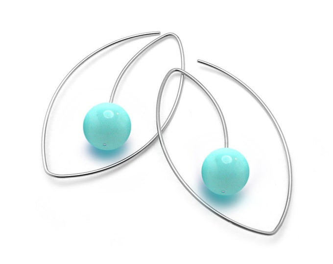 Turquoise Drop Oval wire Earrings in Stainless Steel by Taormina Jewelry