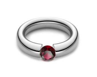 1ct Garnet Tension Set Tapered Engagement Ring in Stainless Steel