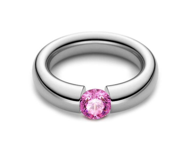 1.5ct Pink Sapphire Tension Set Tapered Engagement Ring in Stainless Steel
