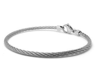 2 mm Stainless Steel Cable Wire Bracelet by Taormina Jewelry
