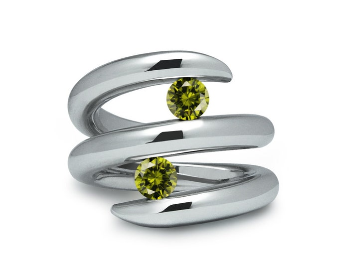 Two Peridot double row bypass tension set ring in stainless steel by Taormina Jewelry